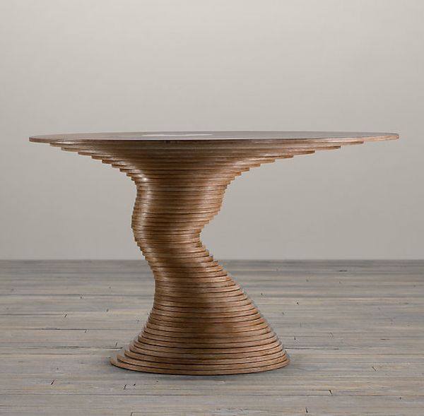 Sculptural Table Made Out From 50 Plywood Disks
