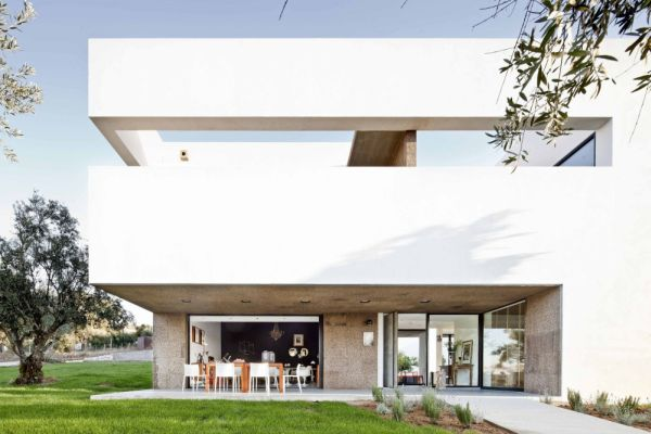 Contemporary villa surrounded by an extensive olive grove