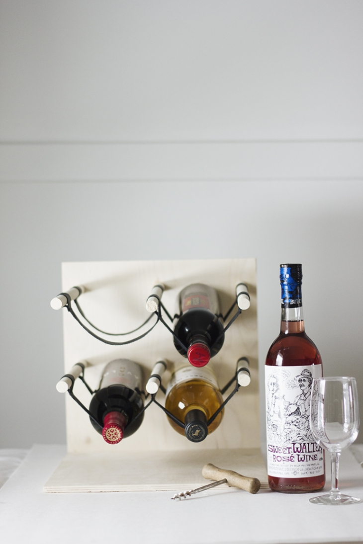 wood and leather wine holder