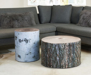 Ingenious wood poufs