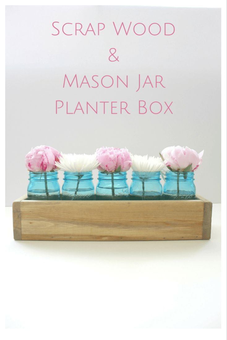 Blue mason jars and planter box