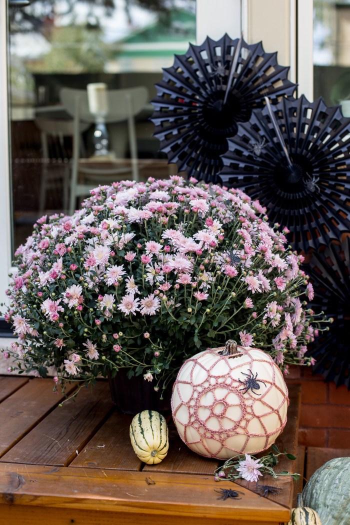 Crochet spider web on pumpkin