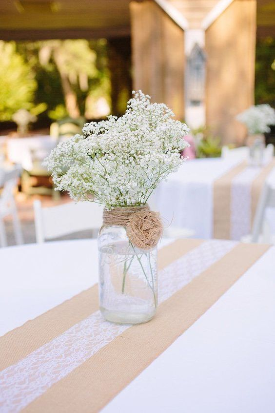 Mason jar simple flower vase