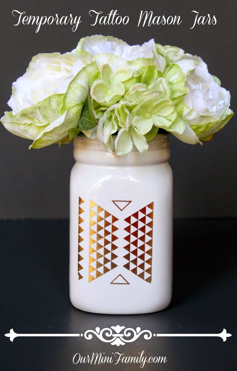 Temporaryy tattoos on mason jars