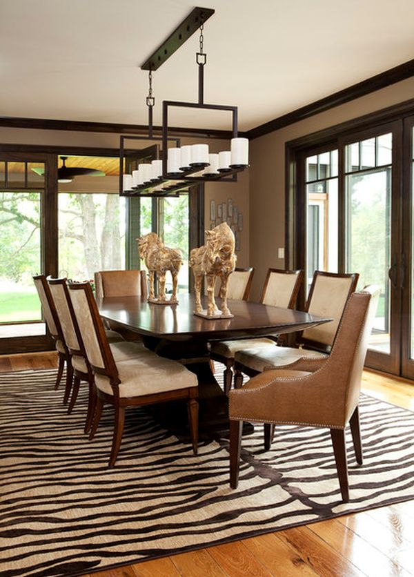 5 rooms featuring a zebra print rug for Best rugs for dining room