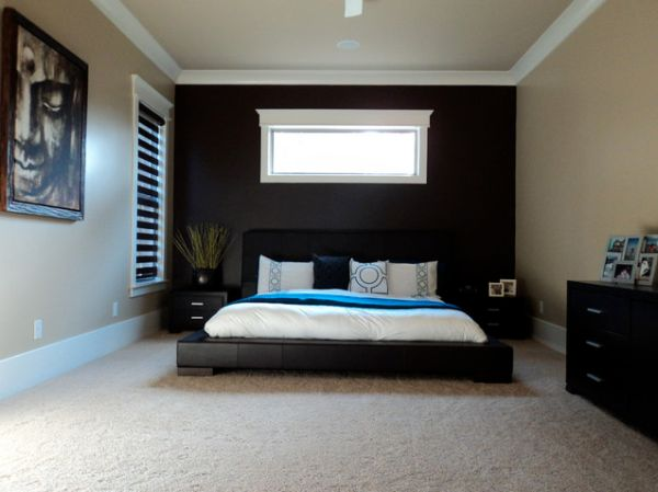 Superior View In Gallery Minimalist Asian Inspired Bedroom With A Black Accent Wall  And Contrasting Bedding Good Ideas