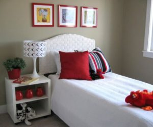 Red-framed wall art for a bold interior décor