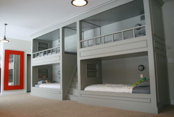 Bunk Beds For Four With A Central Ladder Separator View