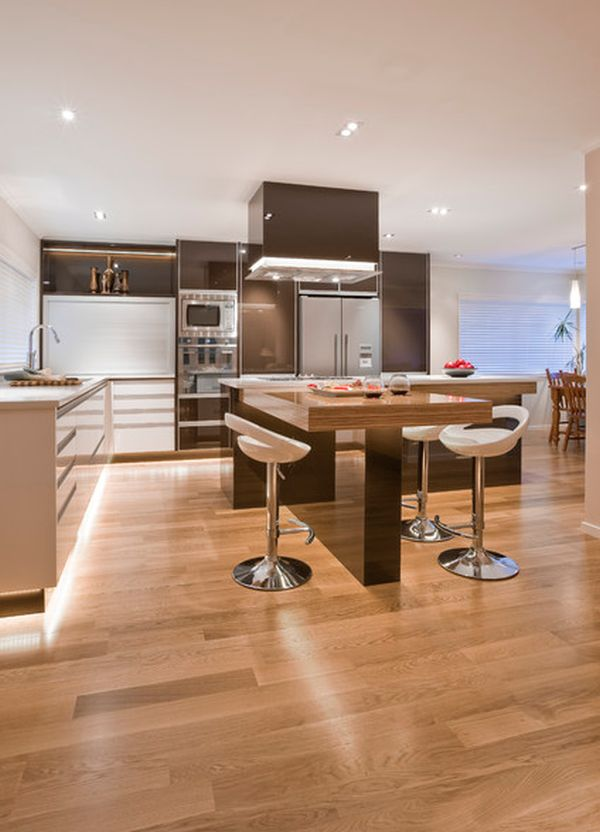 ... Contemporary Kitchen Island With A Wooden Table And Benches View ...