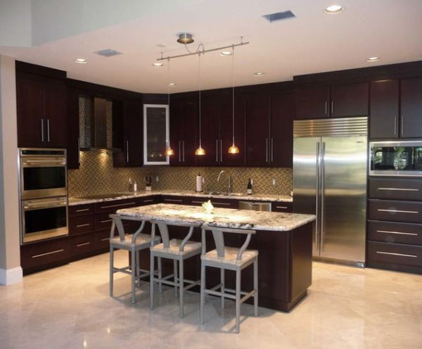 20 l shaped kitchen design ideas to inspire you for Red kitchen designs photo gallery