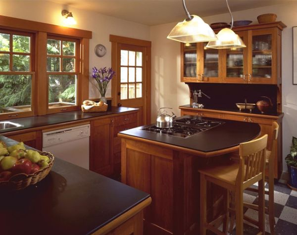 view in gallery inviting traditional kitchen with cherry cabinets and kitchen island - Kitchen Island Small Space