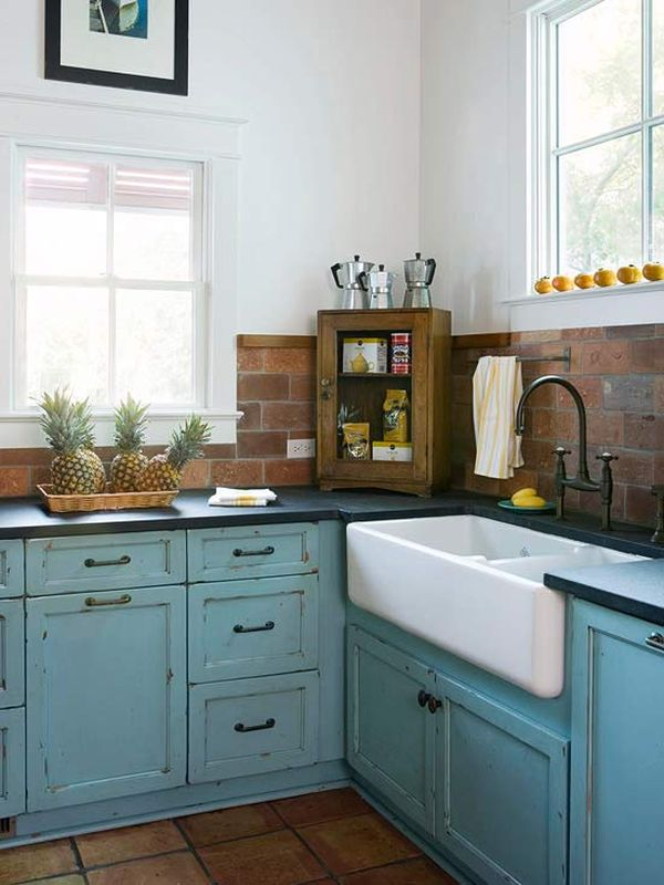 View In Gallery Charming Cottage Kitchen With Salvaged Brick Backsplash And  Blue Cabinets