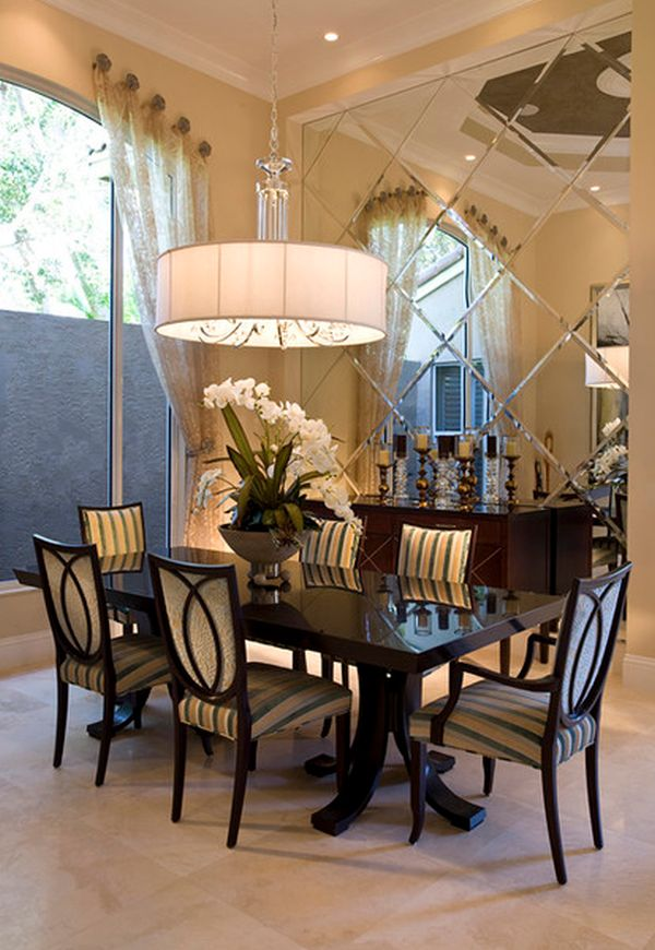 View in gallery Stylish dining. Add style and depth to your home with mirrored walls