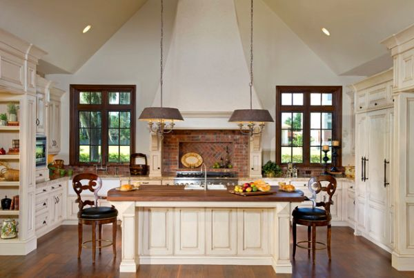 View in gallery Countryside kitchen with pitched ceiling and brick  backsplash