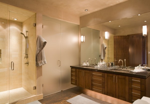 glass doors bathroom idea