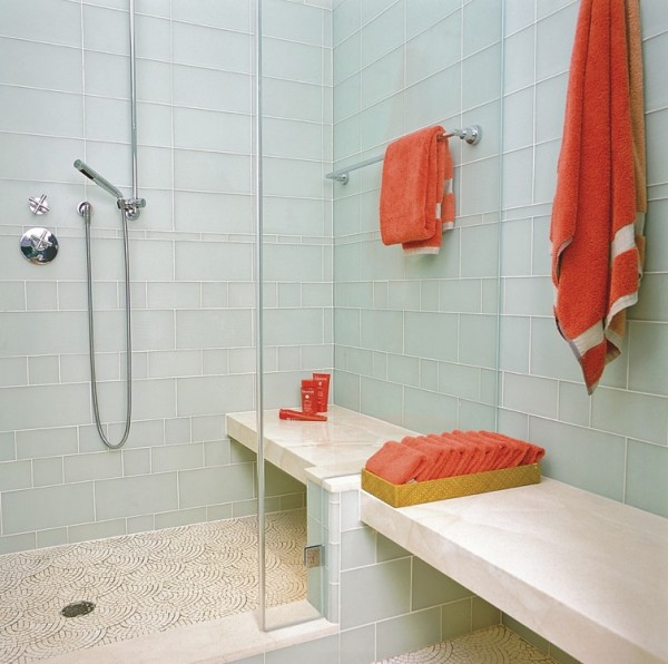 Beau Glass Tile Bathroom