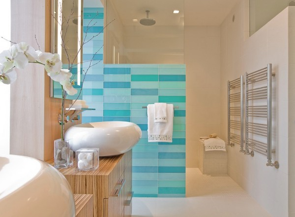 glass wall tile bathroom