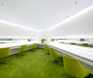 The refreshing interior featuring lime accents of the Neo Derm Medical Aesthetic Center