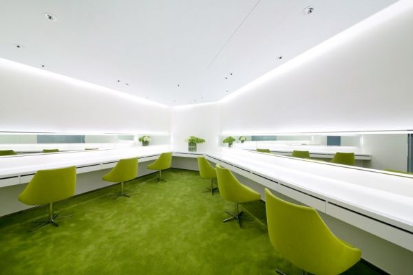 The Refreshing Interior Featuring Lime Accents Of The Neo Derm Medical  Aesthetic Center Design