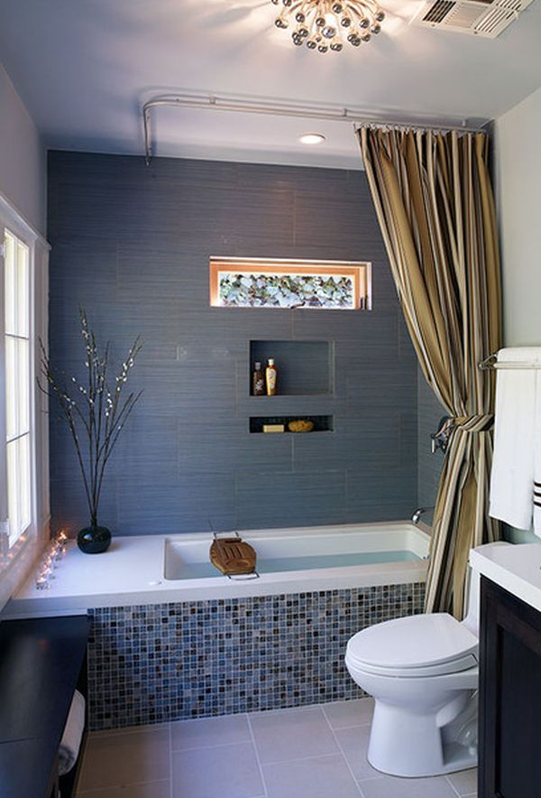 Small Bathroom Curtain Ideas Part - 24: Large ...