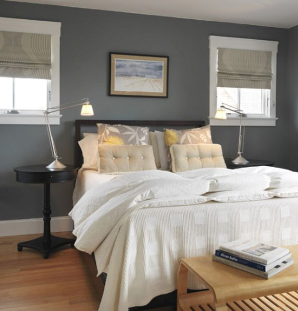 How to decorate a bedroom with grey walls for Grey feature wallpaper bedroom