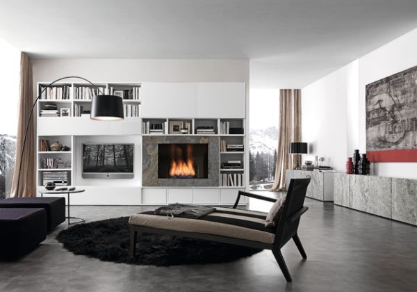 Modern Living Room With Fireplace And Tv 21 modern fireplaces: characteristics and interior décor ideas