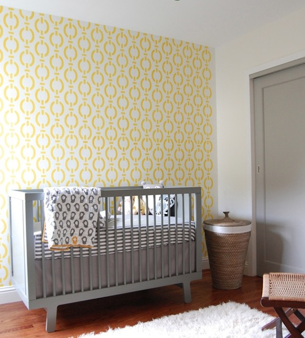 grey yellow gender neutral nursery
