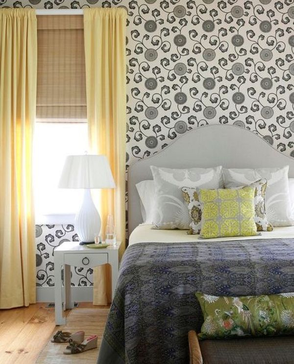 View In Gallery Inviting Modern Bedroom With Soft Yellow Curtains And ...