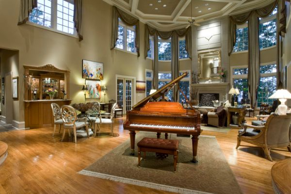 extraordinary living room piano idea | 125 Living Room Design Ideas: Focusing On Styles And ...