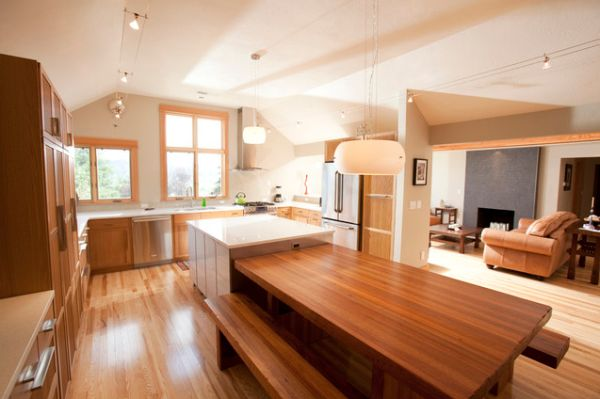 Kitchen Island With A Table End For Three View In Gallery