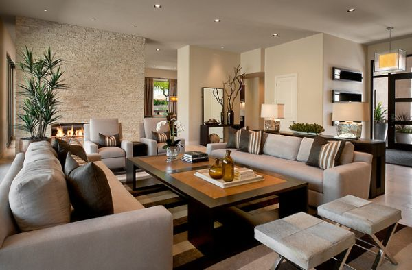 View In Gallery Elegant Living Room With A Textures Accent Wall