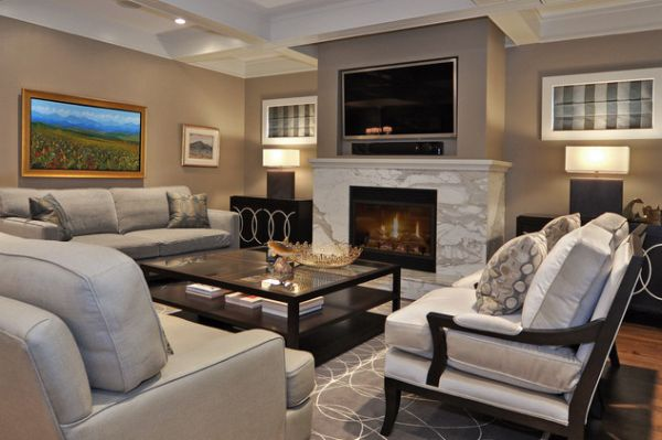 View in gallery Contemporary living room with old-fashioned fireplace