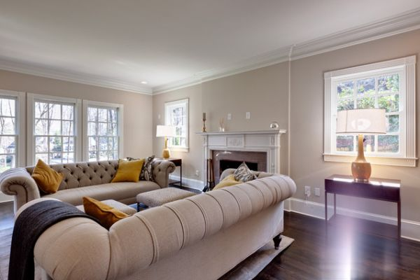 View In Gallery A Very Stylish And Inviting Beige Chesterfield Sofa Traditional Living Room