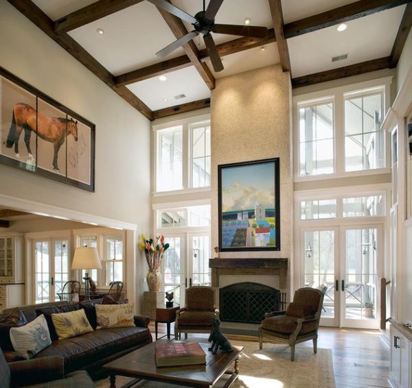 View in gallery Open plan living room with high wooden ceilings spotlights and a delicate pendant l& View ... & 10 High Ceiling Living Room Design Ideas