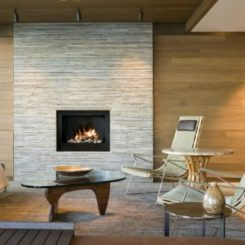 modern fireplace flagstone