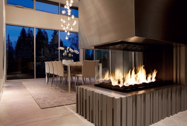 modern fireplace open