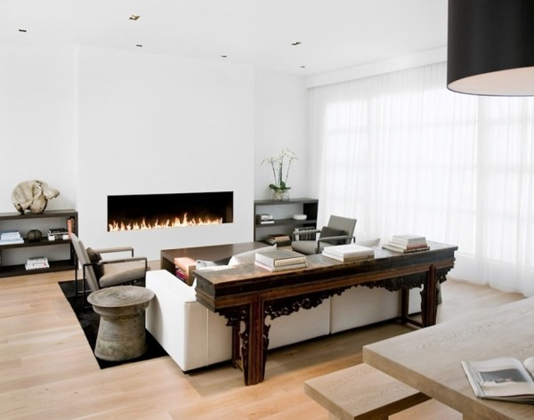 modern fireplace white