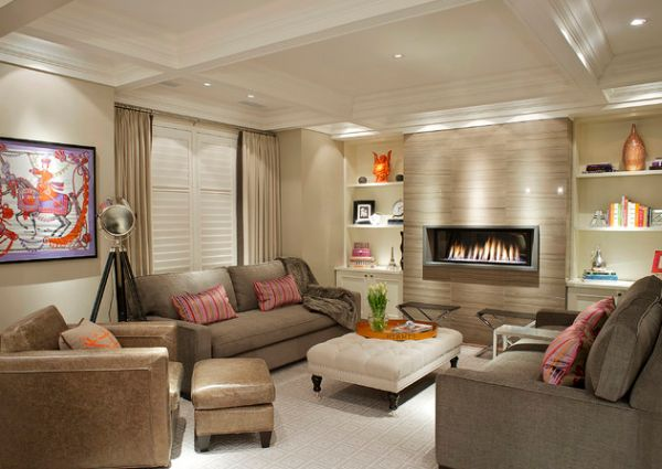 View in gallery Contemporary living room with a modern fireplace