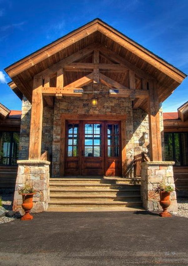 View In Gallery Traditional Mountain Entrance With Wood Doors ... Idea