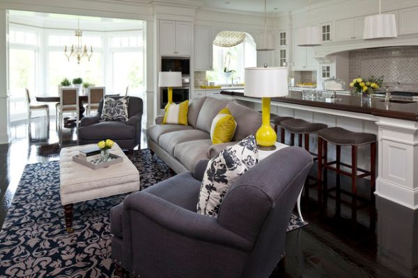 ... Living Room With Bold Yellow Accents And Soft Grey Touches View ...