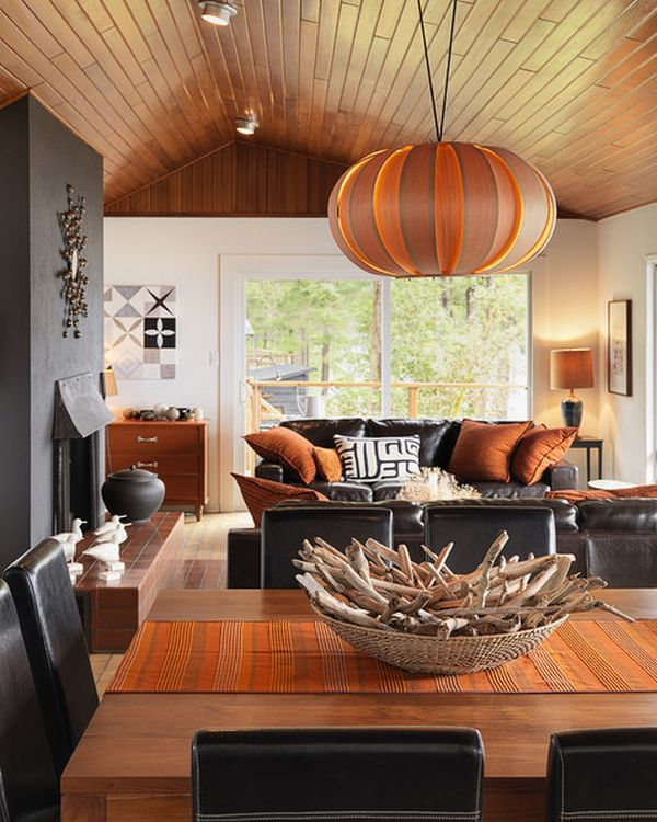 Attractive interior designs inspired by halloween - Black and orange living room ideas ...