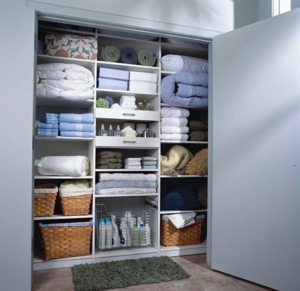 organized closet linen