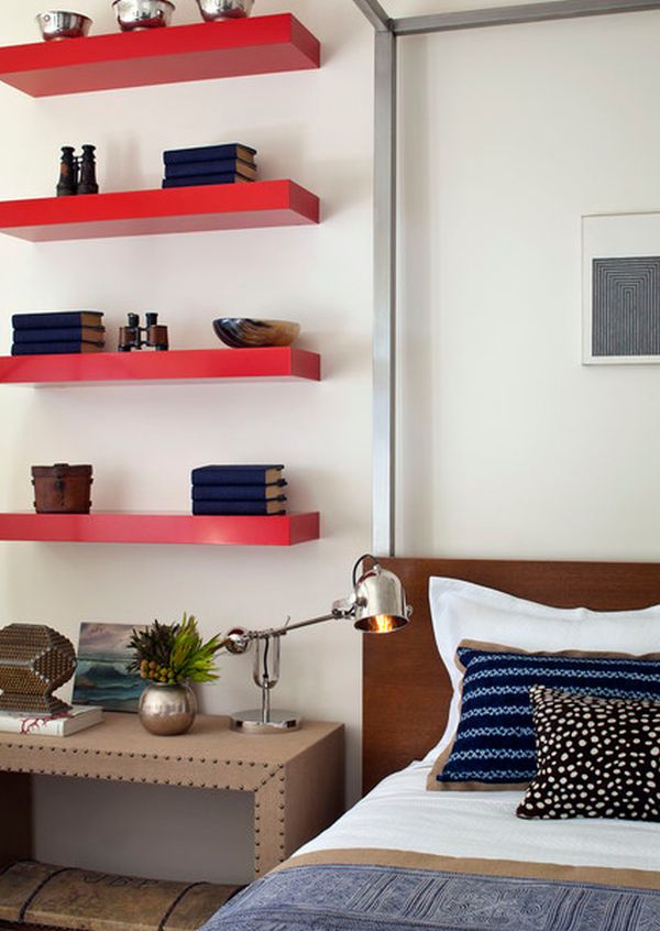 bedroom shelves ideas simple functional and space saving floating wall shelving 10663