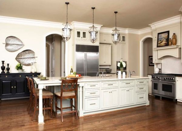 Kitchen Island With A Lateral Table Extension For Four View In Gallery Long