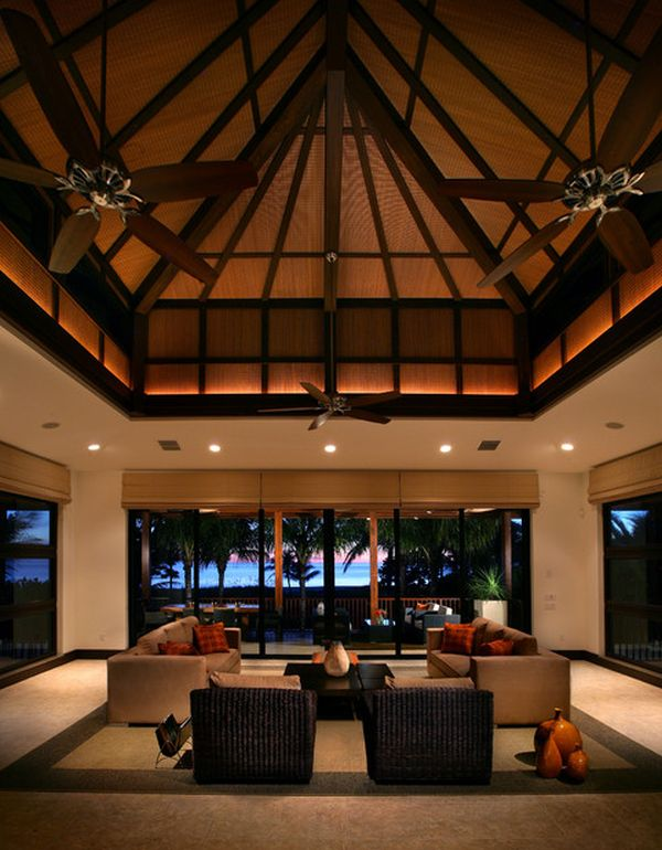 View In Gallery Modern Living Room With A Dramatic Pitched High Ceiling