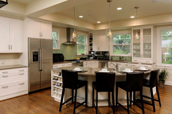 30 kitchen islands with tables a simple but very clever combo for Square shaped kitchen designs