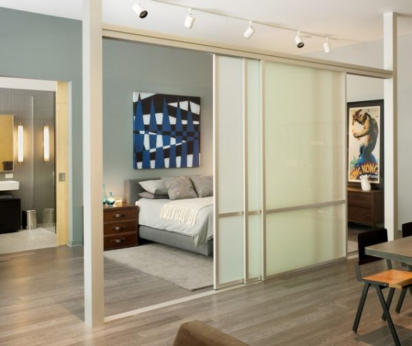 View In Gallery Ious Loft Bedroom With Sleek And Delicate Sliding Doors