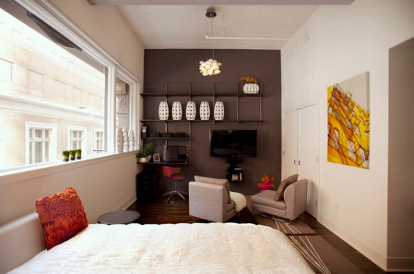 View In Gallery Modern Urban Studio Living Room With Brown Accent Wall