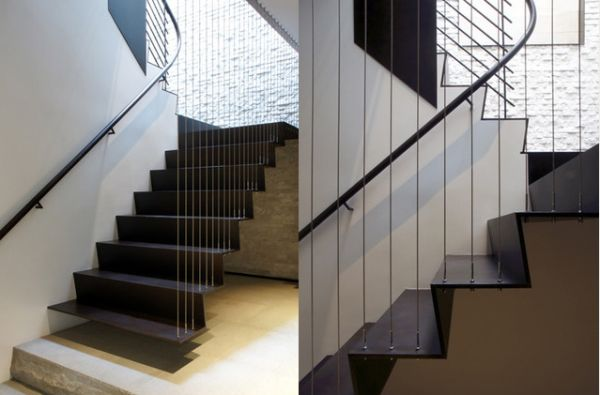 View In Gallery. A Suspended Steel Staircase ... Home Design Ideas