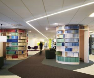 The reinvented Svensk Travsport Offices, now with a colorful and dynamic interior